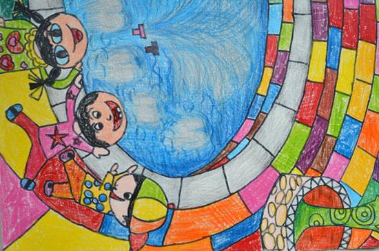 儿童画喷泉简笔画